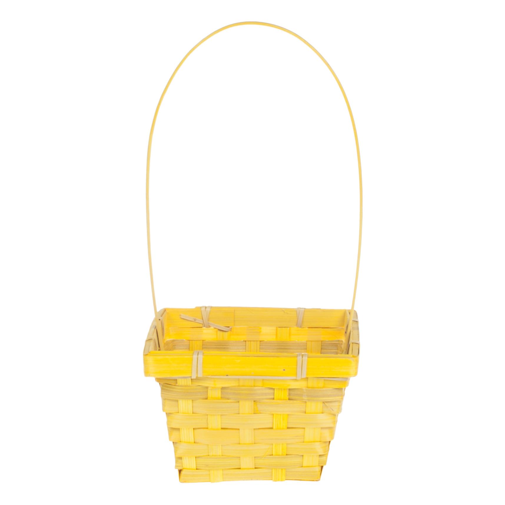 Корзина плетеная (бамбук) D14X14 H9.5 HH32 желтая ТМ120
