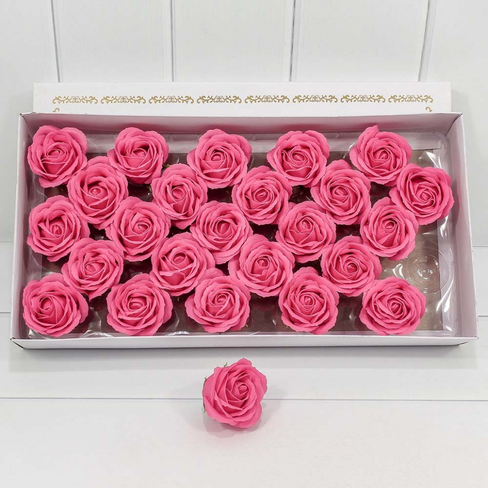 Декоративный цветок-мыло Большая Роза Тёмно-розовый 6.5*7 25шт