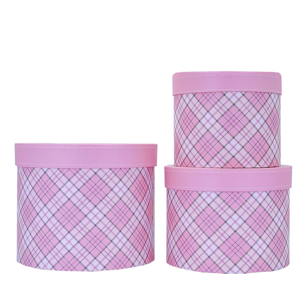 Набор коробок Тубус 3шт L.21.2x17.5cm M.18.7x14.3cm S.16.2x13.3cm Розовый ТМ18