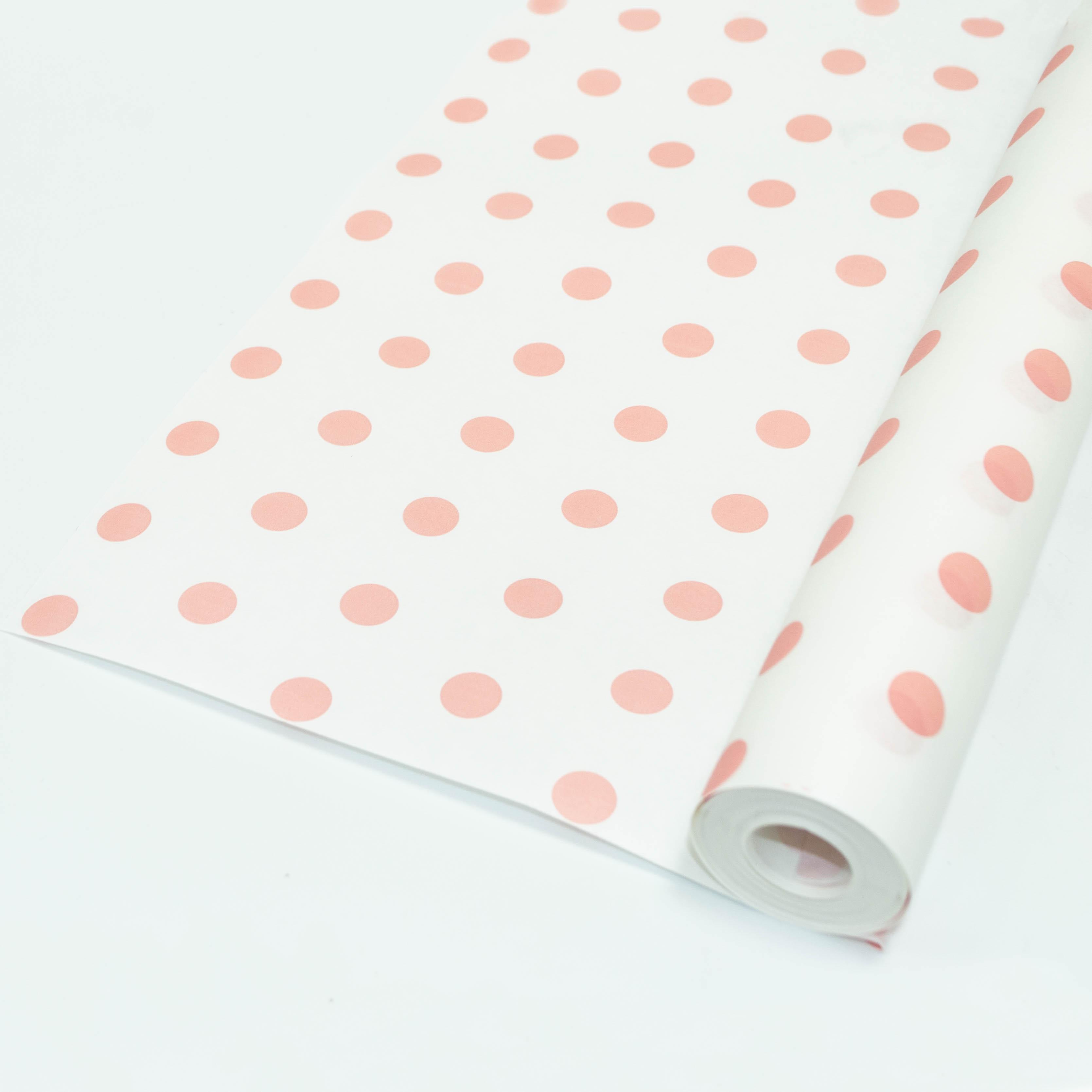 А Бумага Белый крафт с рисунком Горох Нежно-розовый 70см 400гр