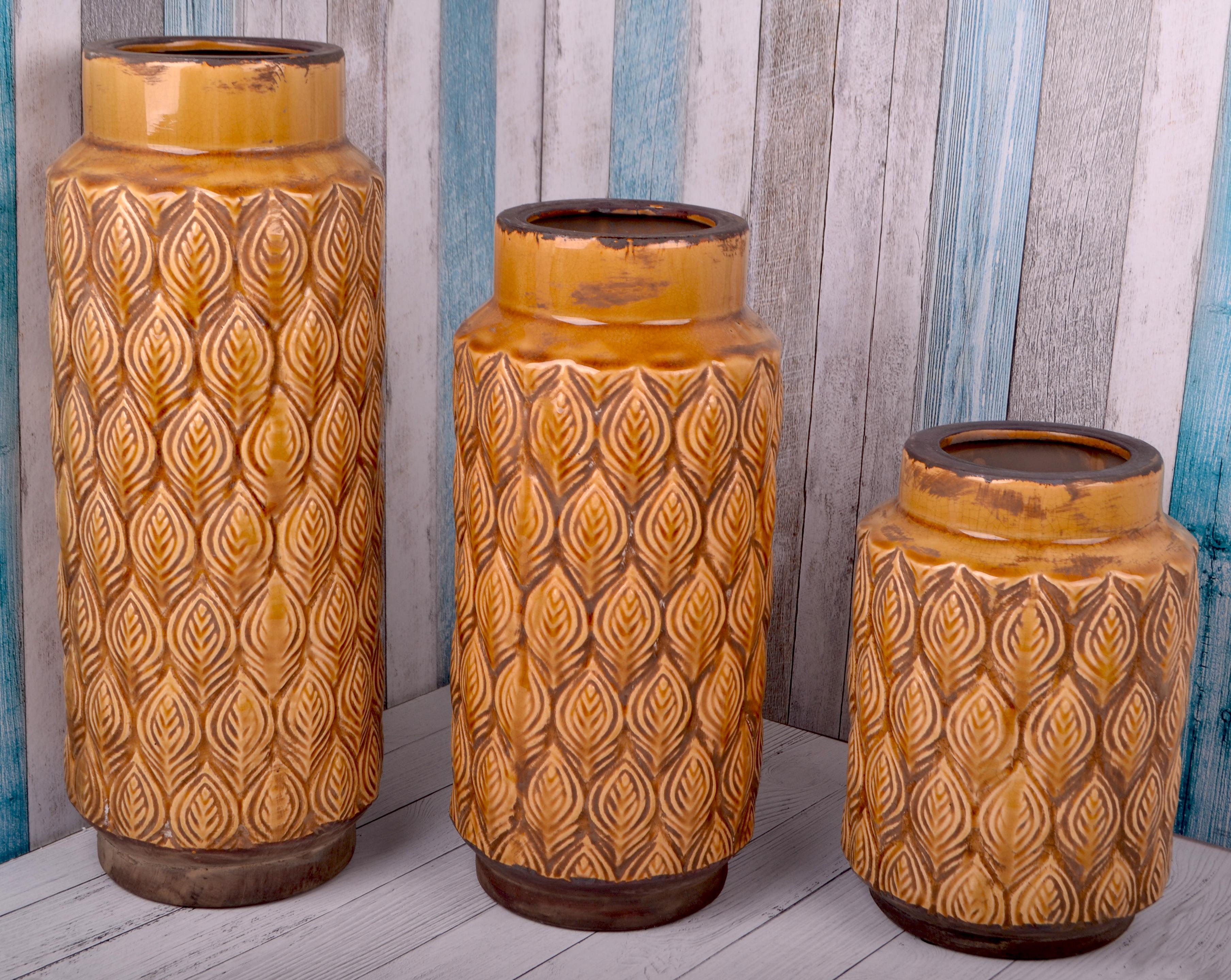Ваза керамика листья14.5X30