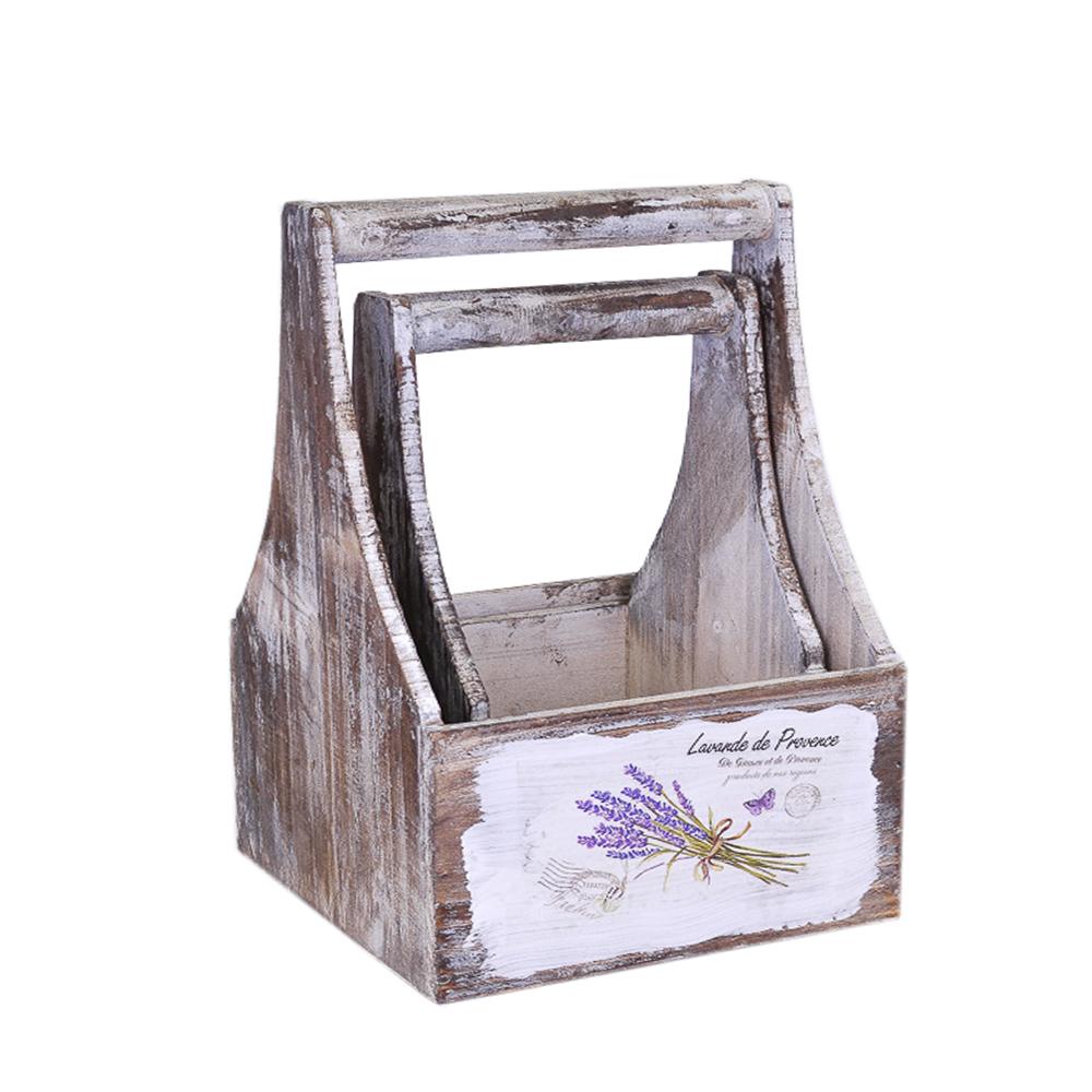 А Набор ящиков для цветов с ручкой Lavande de Provence (14.5*14.5*26; 18.5*18.5*30) 2шт