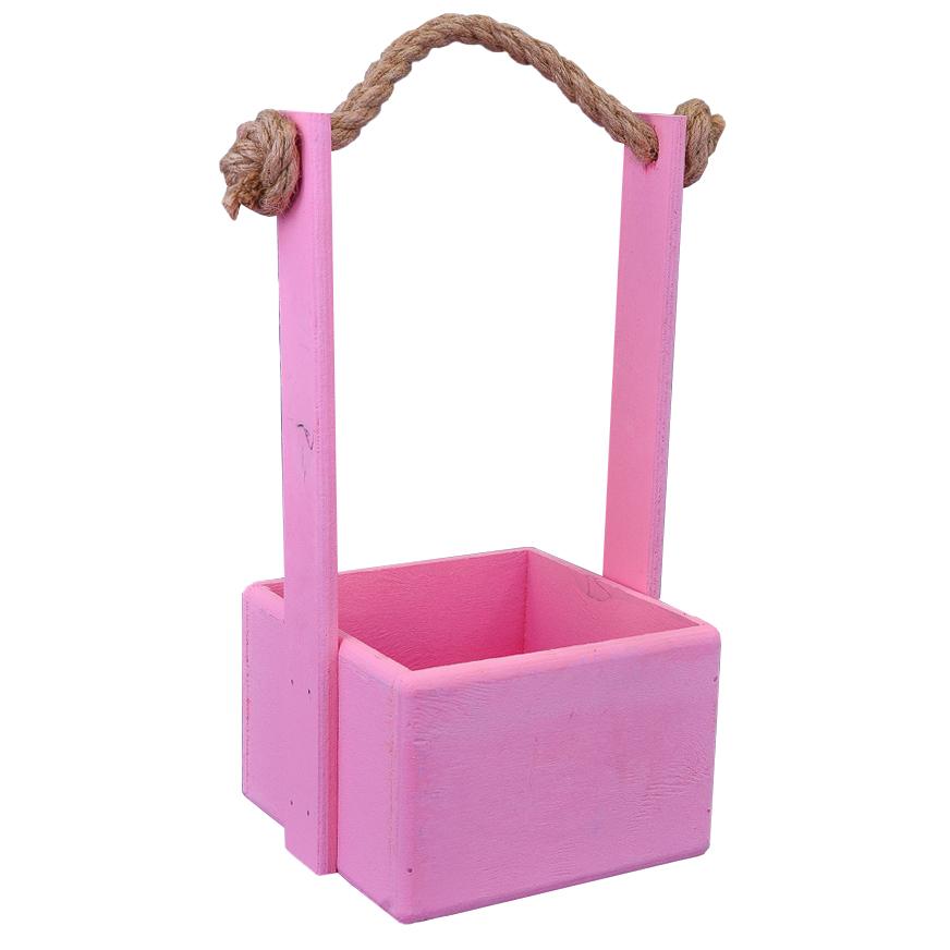 А Ящик 15*15*10 Розовый (веревка-ручка)