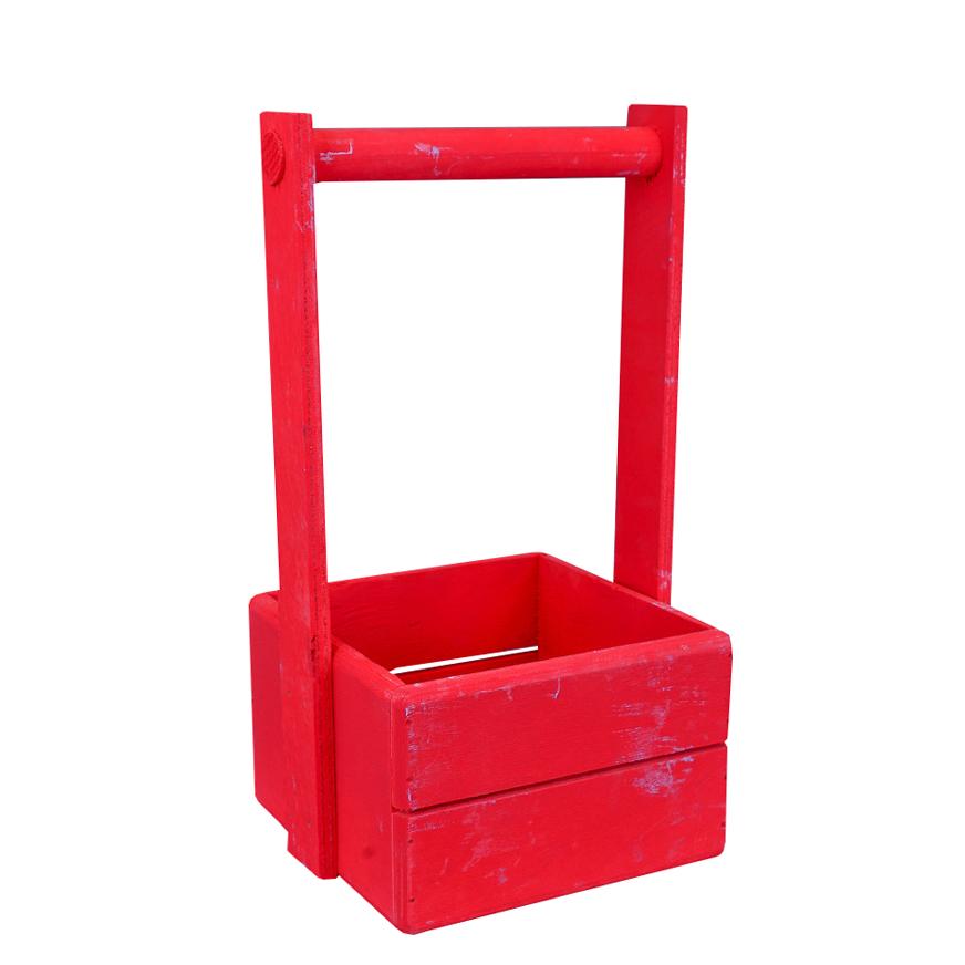 А Ящик рейка 15*15*10 Красный (деревянная ручка)