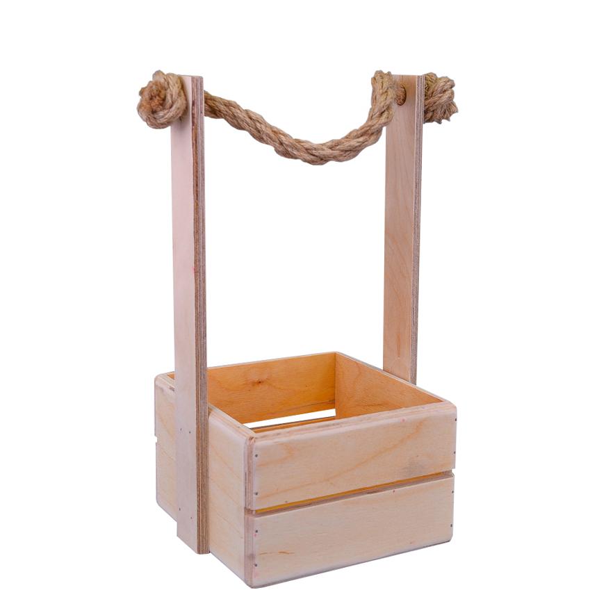 А Ящик рейка 15*15*10 Натуральный (веревка-ручка)