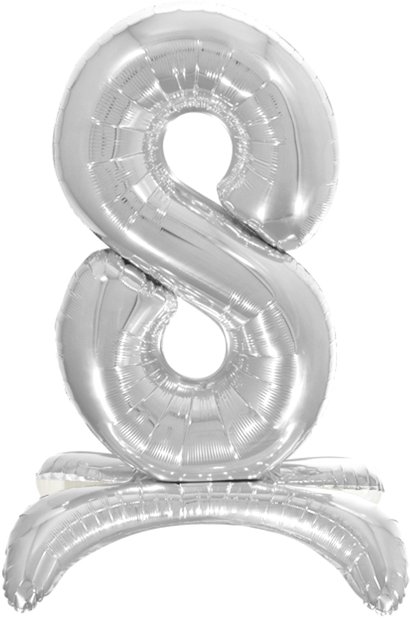 Шар (32''/81 см) Цифра под воздух 8 на подставке Серебро Falali