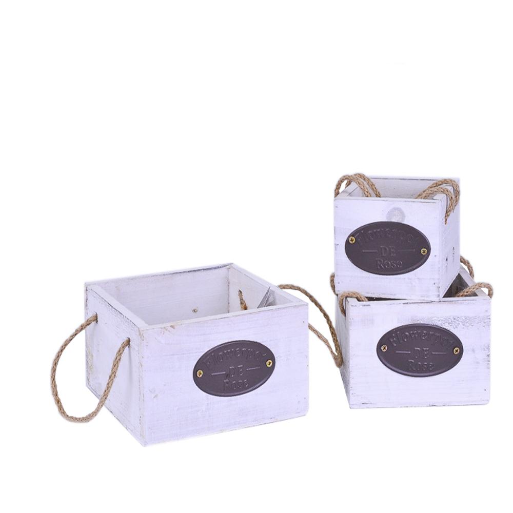 Ящик для цветов с металлической вставкой Белый (16*16*9; 13*13*8.5; 9.5*9.5*8) 3шт ТМ75