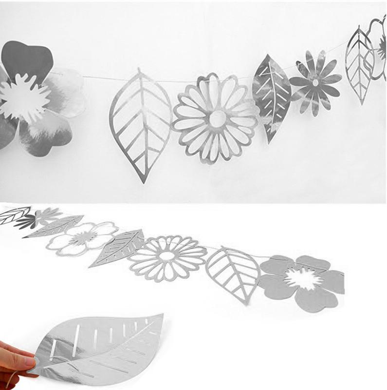 Гирлянда бумажная (фигурная форма) Листья Серебро 2.5м