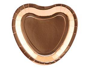 Тарелки (9/23 см) Сердце фольг розовое золото 6шт