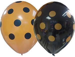 Шар (14/36 см) Шелкография Пастель Горошек Оранжевый-Чёрный 25 шт BELBAL