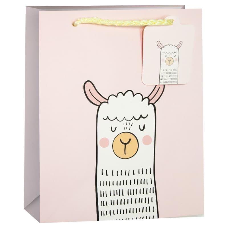 Пакет подарочный Лама Альпака Светло-розовый 42*32*12см
