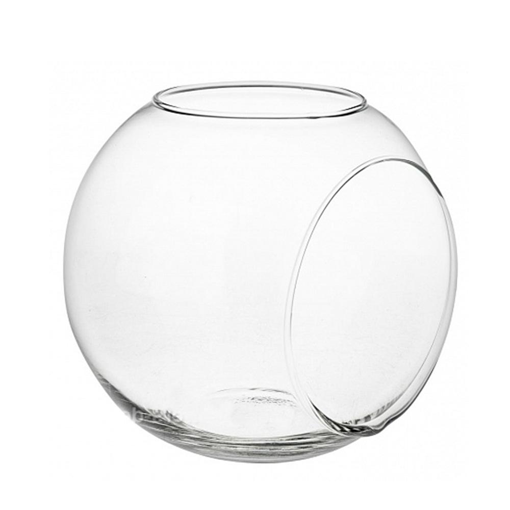 Ваза Мате (стекло) с двумя отверстиями для суккулентов D14.5*H13см