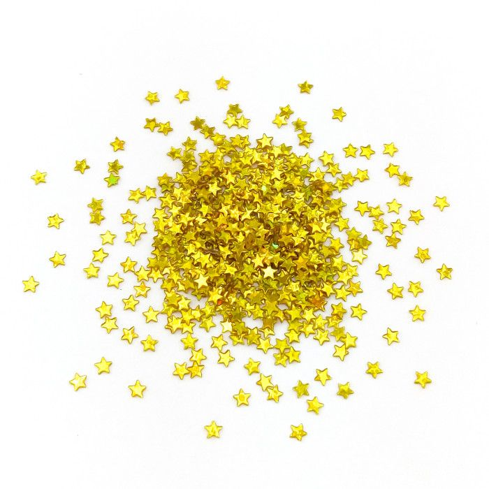 Глиттер Звезды лазерный золотой 3 мм / 100 г /