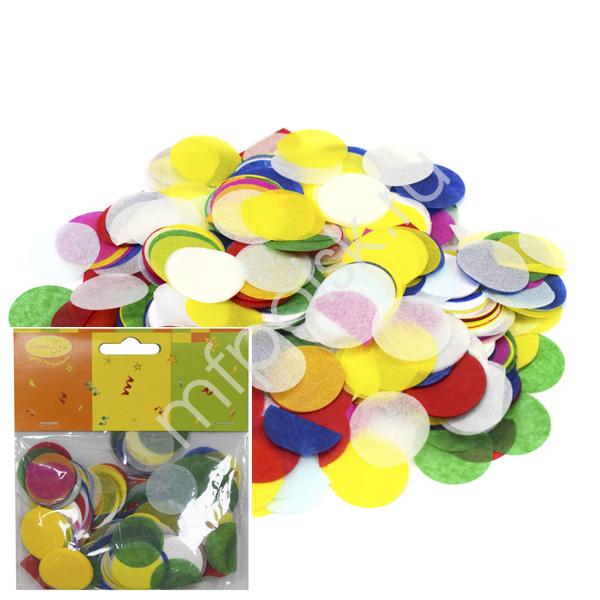 Конфетти бумажное Круги разноцветные пастельные 2.5см 14гр