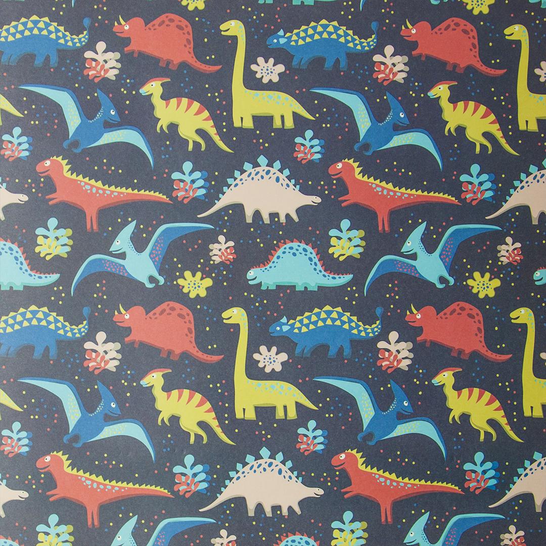 Бумага упаковочная Разноцветные динозавры 0.5*0.7 м 1шт