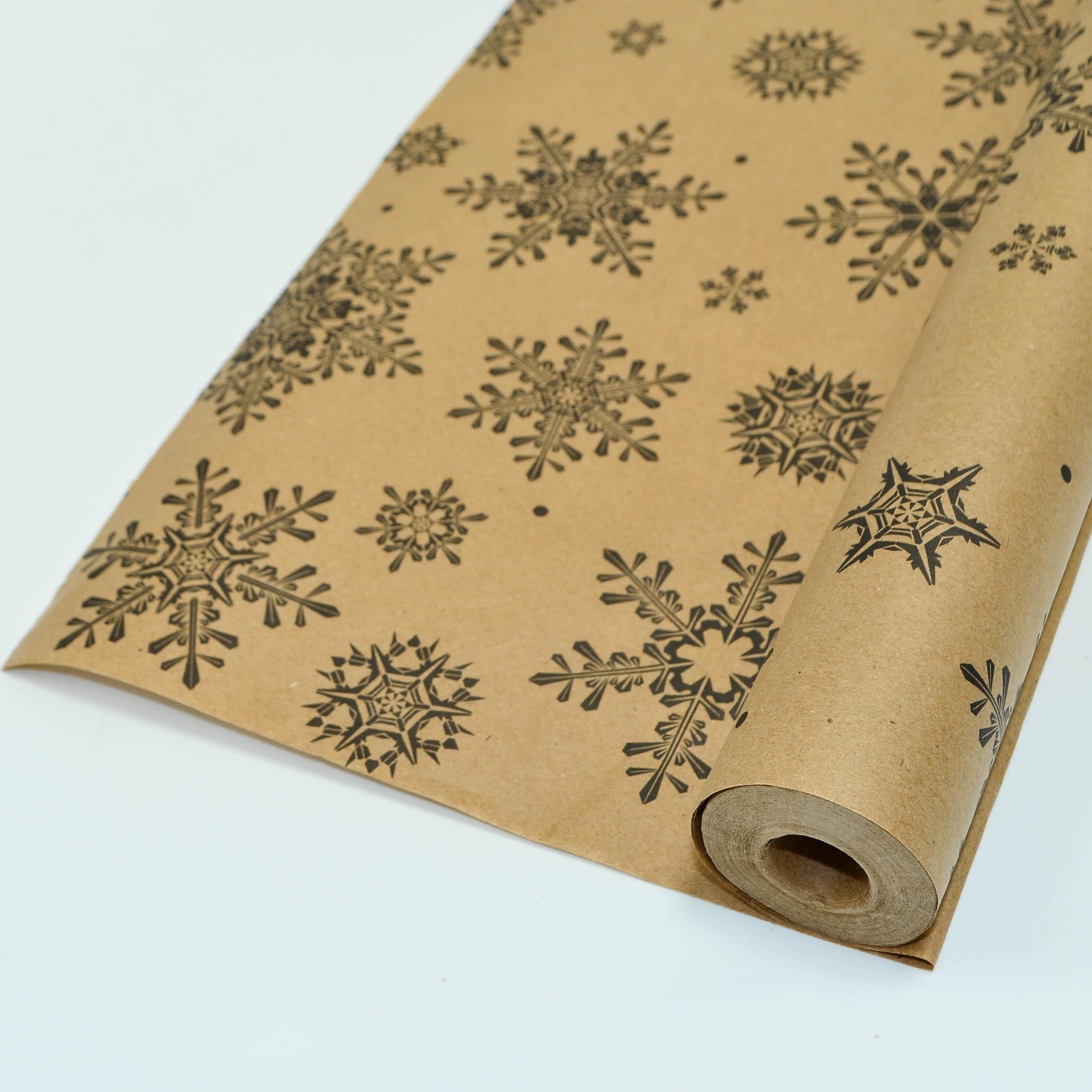 А Бумага крафт с рисунком Снежинки Ретро Черный 70см 10м