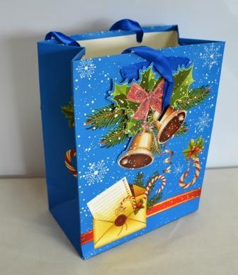 Пакет подарочный плотный картон НГ 23см*18см*10см микс2