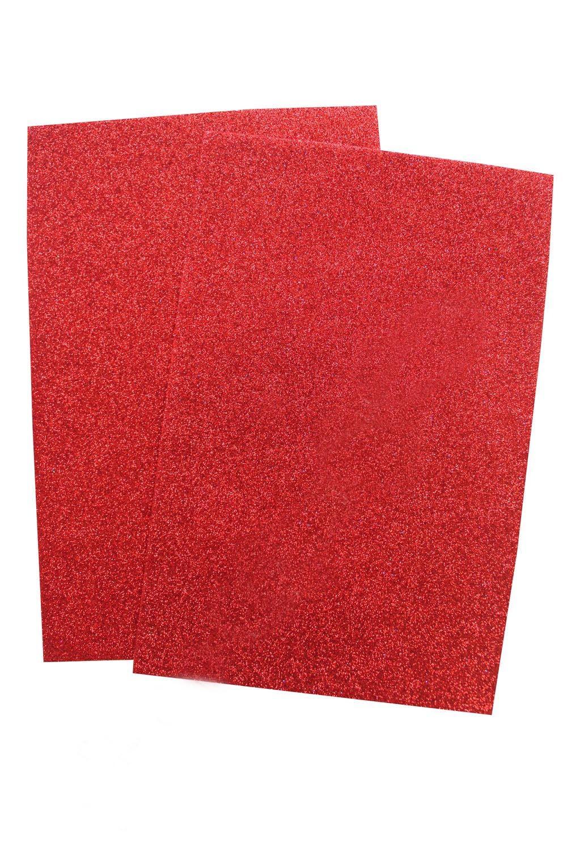 Фоамиран глиттерный Красный самоклеющийся (10 листов) SF-1957 №001