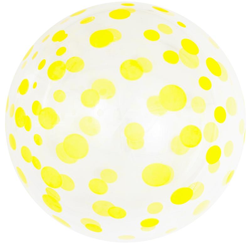 Шар (18''/46 см) Сфера 3D. Deco Bubble. Желтое конфетти. Прозрачный