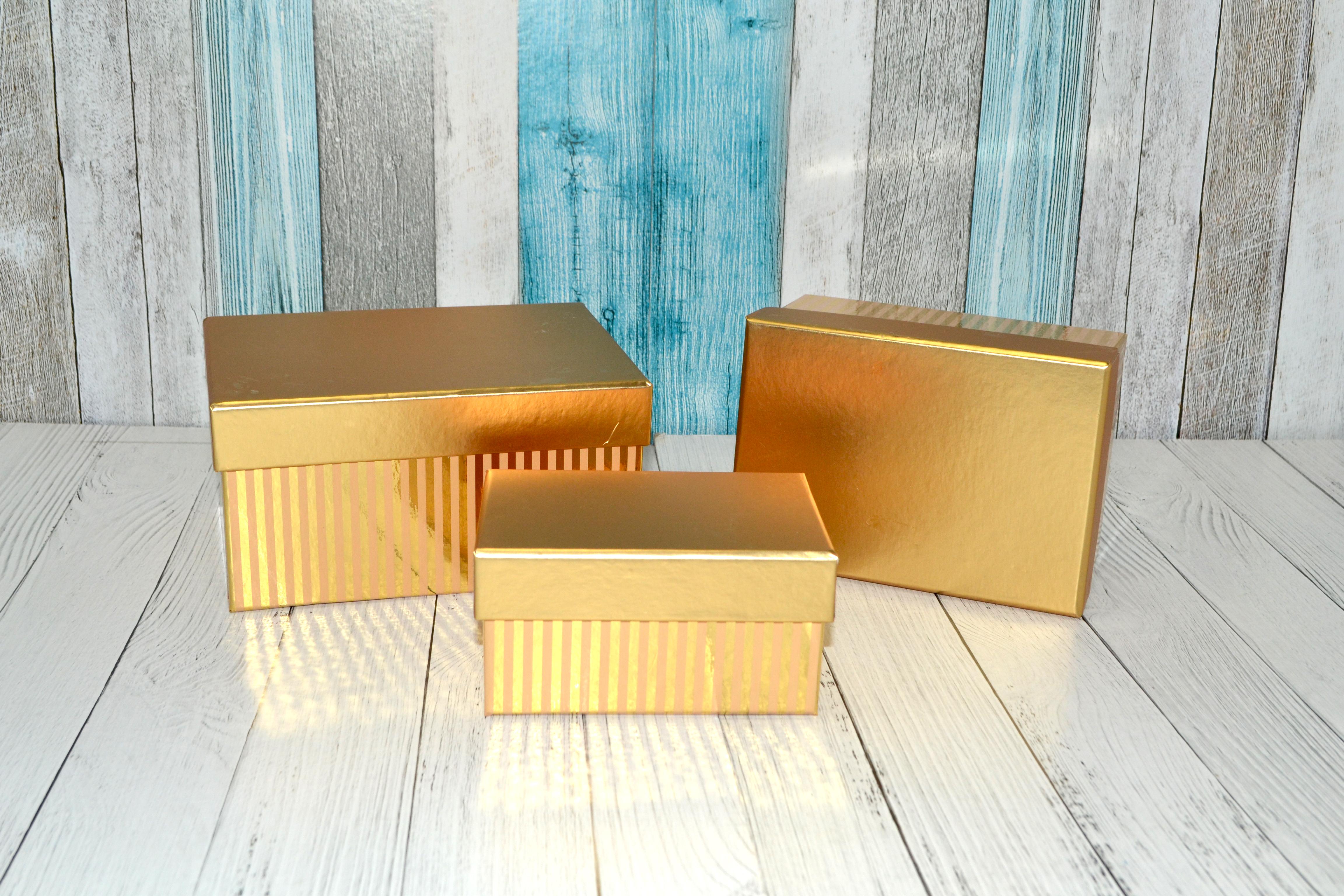 А Набор коробок из 3х 15.7x11.2x8.2. 13.5x9.8x7. 11.2x8x5.8cm золото