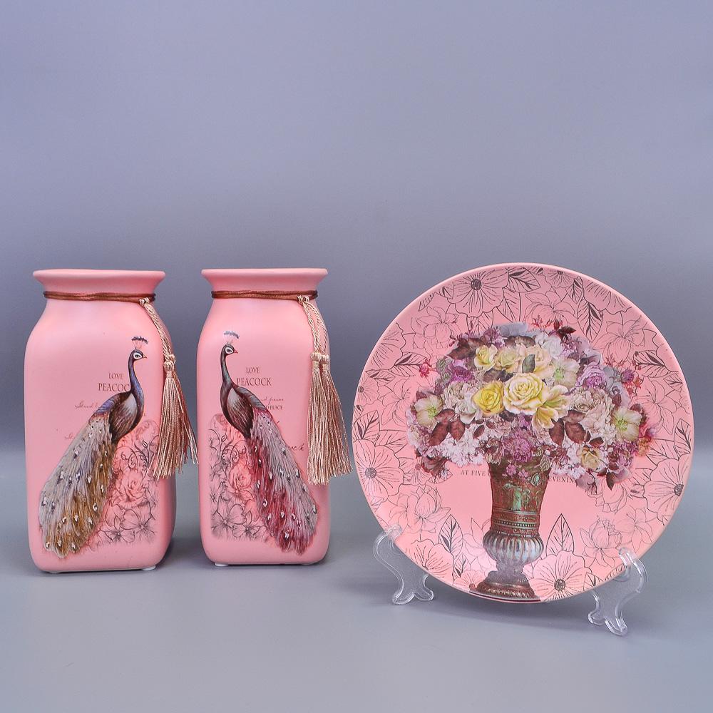 Комплект из керамики Тарелка цвет МИКС D18см+2 Вазы Н20см/2