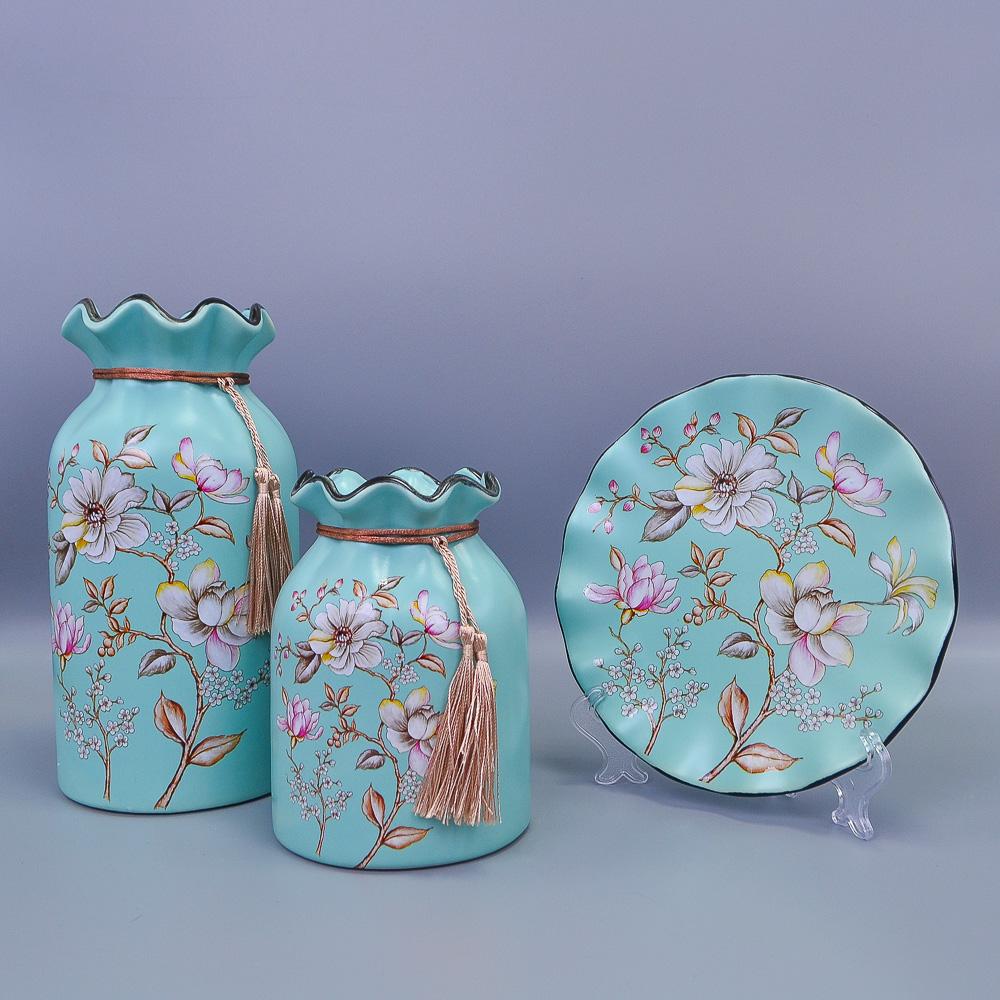 Комплект из керамики Тарелка цвет МИКС D19см+2 Вазы Н23см/15см/1