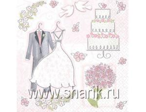 Салфетки Свадьба Romantic 33см 16шт/А