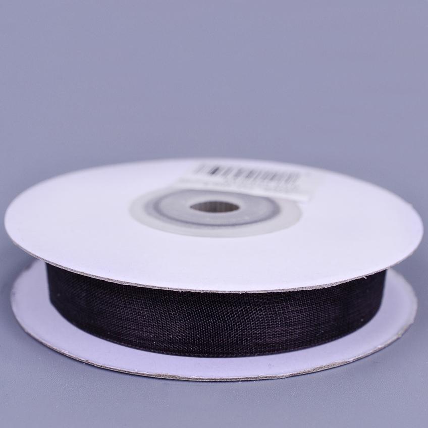 Шифоновая лента 1.2см * 25Y 20 черная .тм 10/250