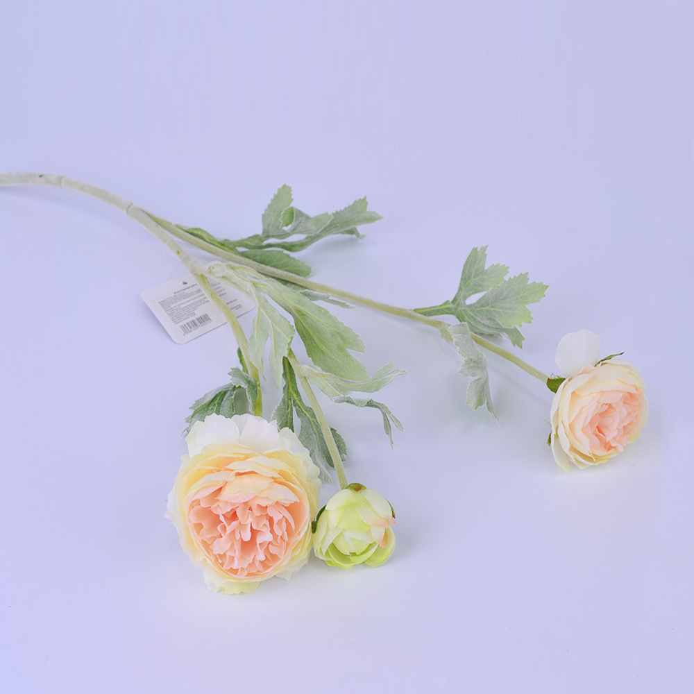 Искусственные цветы Ранункулюс Персиковый 50см (ветка)