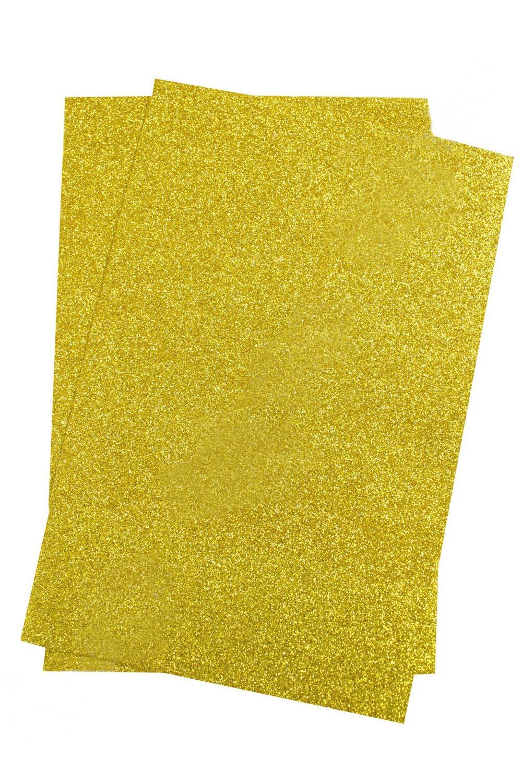 Фоамиран глиттерный Золотой Premium самоклеющийся (10 листов) SF-1957 №020