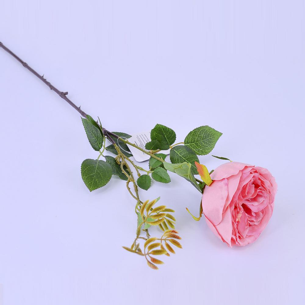 Искусственные цветы Роза Розовая 65см (ветка)