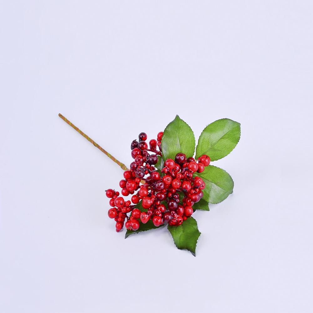 Искусственные ягоды Красные 29см (ветка)