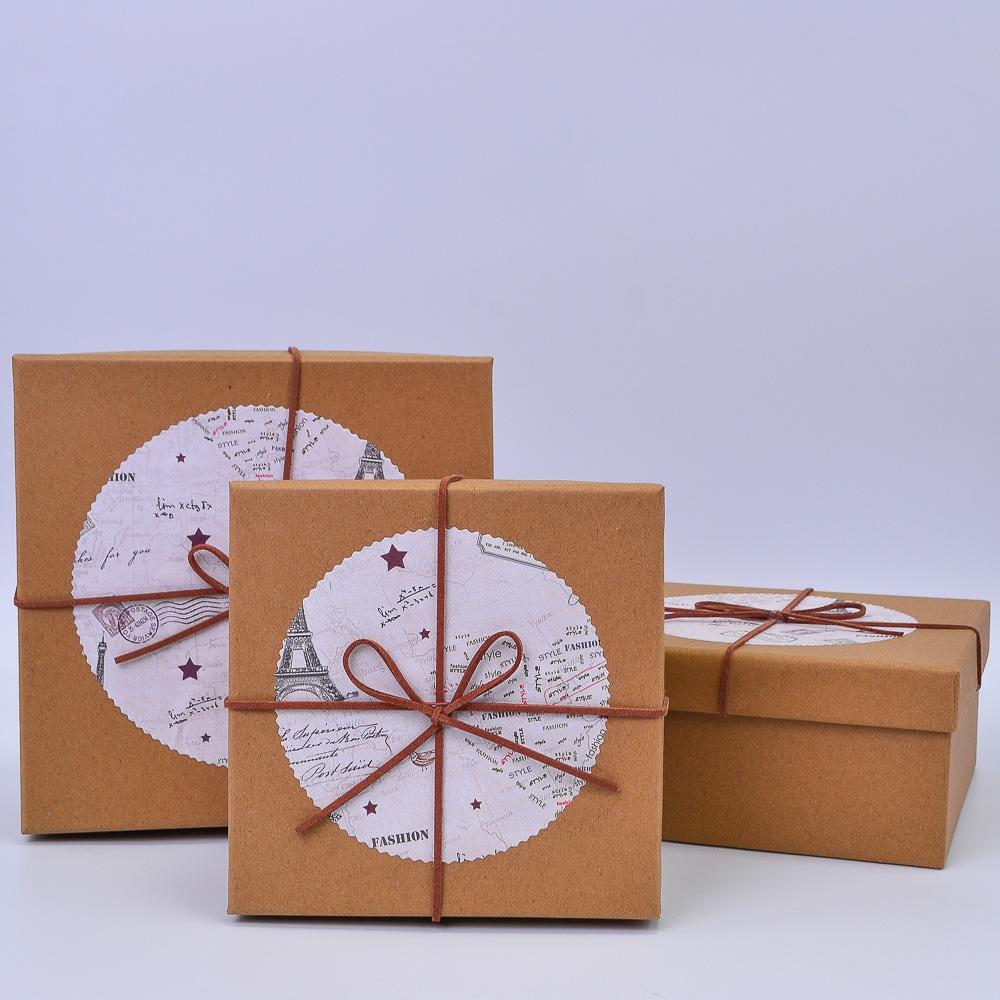 Набор коробок Квадрат Крафт Just for you 3шт 19*19*9; 17*17*8; 15*15*7 см ТМ36