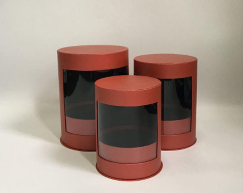 А Набор коробок с прозрачной крышкой Терракот L.21x26.54cm M.18.5x24cm S.16.5x21cm т.м 12