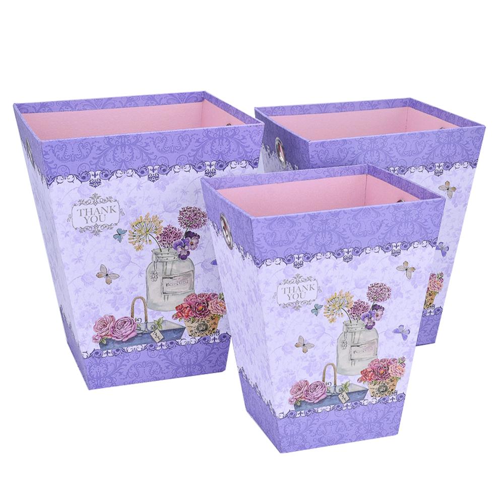 Набор коробок 3шт L:20x25.5cm M:18x23.5cm S:16x21.5cm Сиреневый тм16