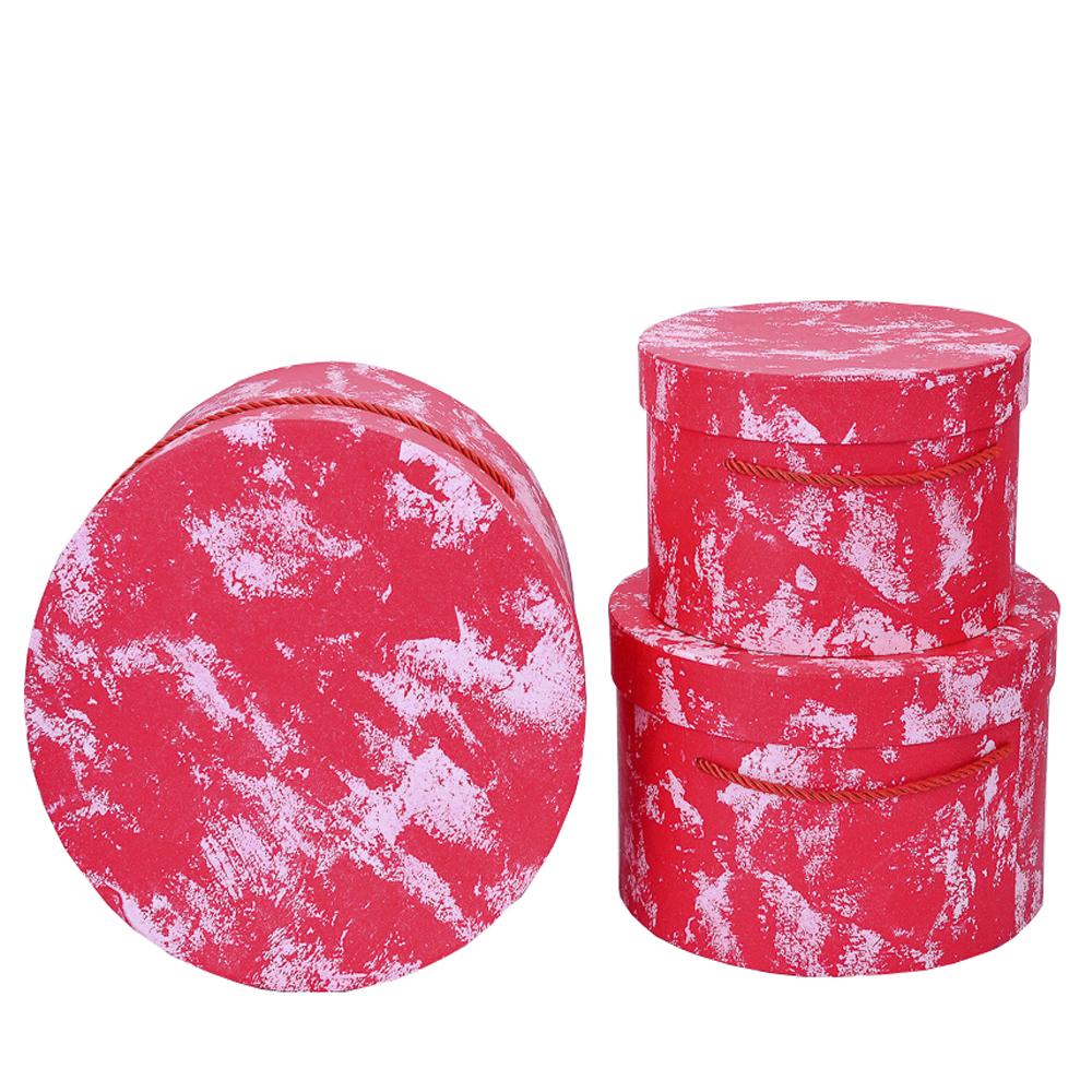 Набор коробок Круг 3шт L.27x17cm M.23.5x15cm S.19.8x13cm Красный тм18