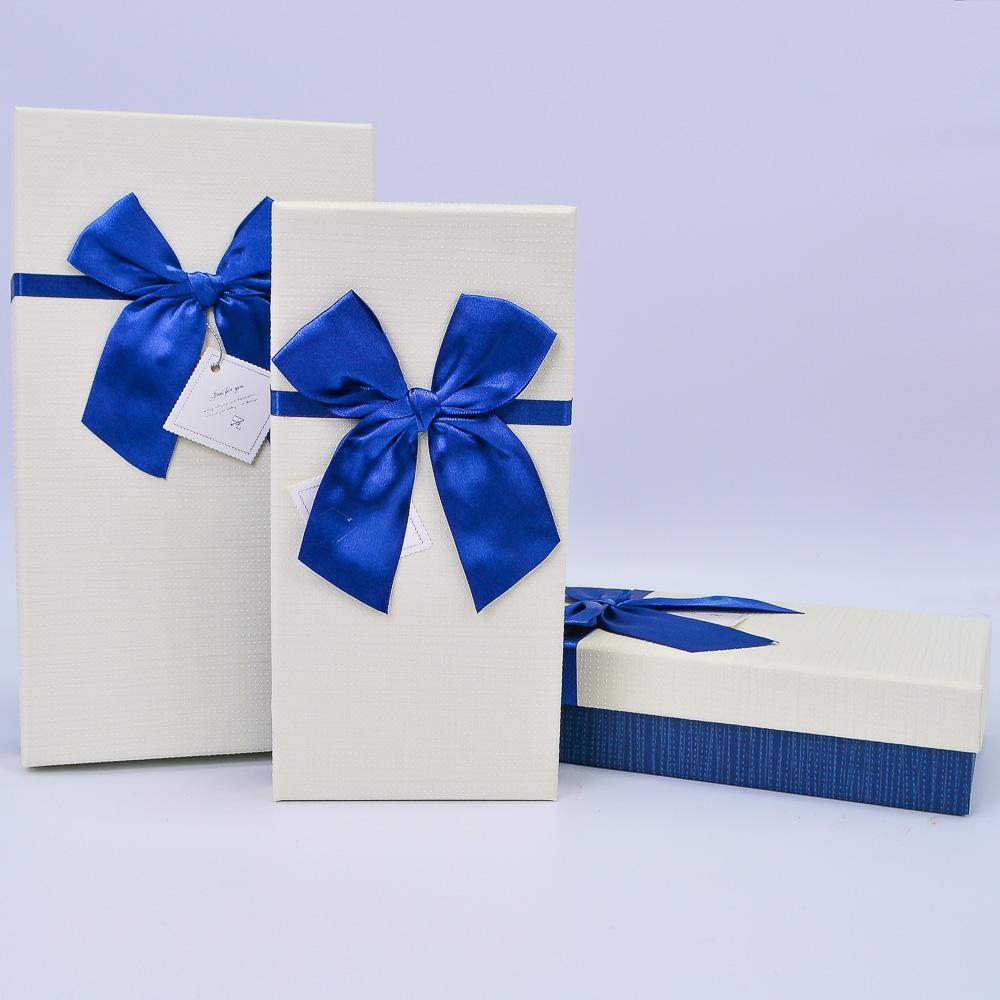 Набор коробок Прямоугольник Кремовый/Синий МИКС 3шт 272*152*65; 252*132*55; 232*115*45 ТМ48