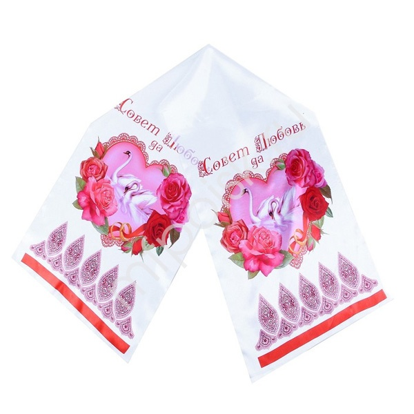 DM Рушник Лебеди розовый 135см х30см