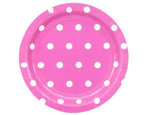 Тарелка Горошек ярко-розовая 23см 6шт/G