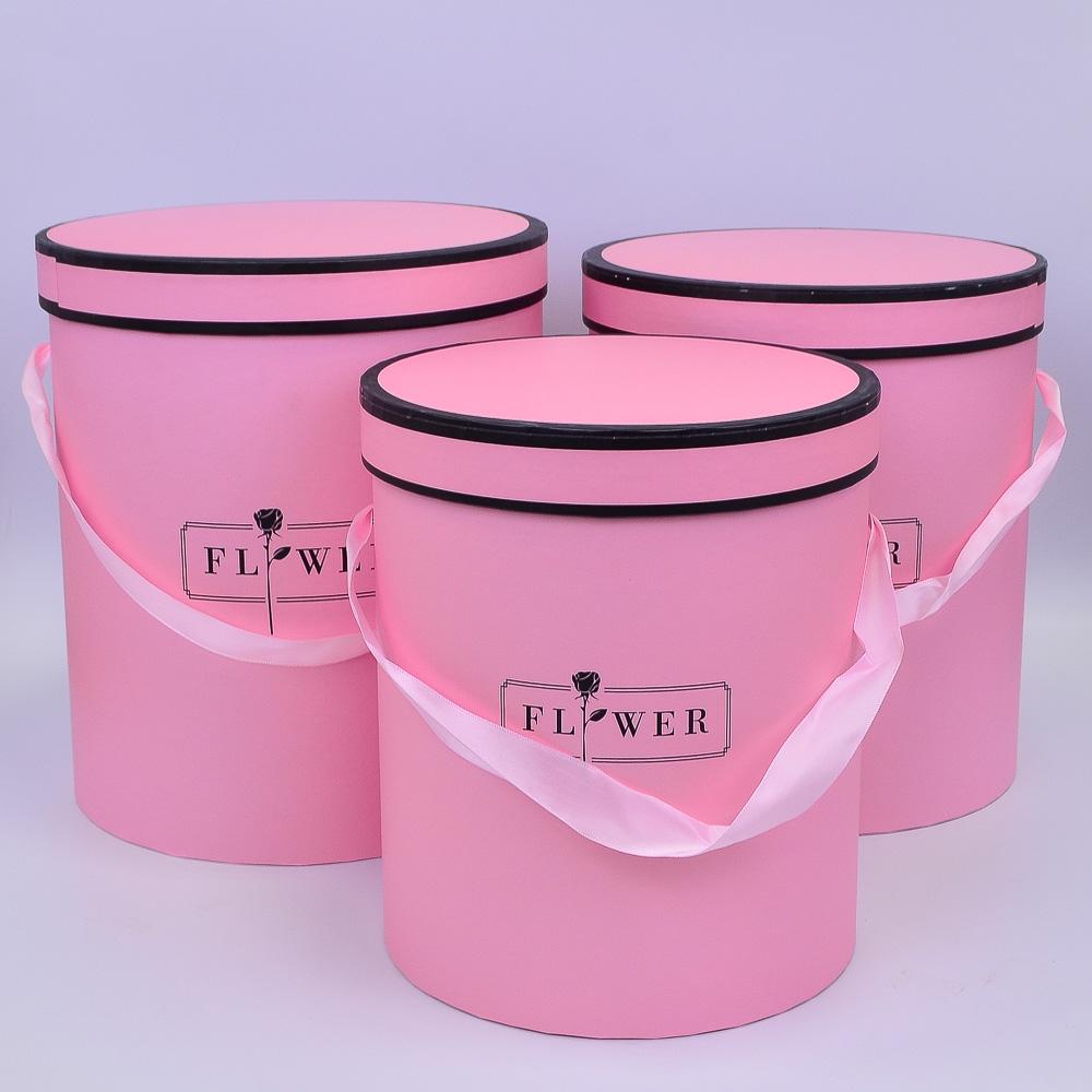 Набор коробок Тубус Ярко-Розовый 3шт 25*28; 23*26; 21*24 см ТМ12