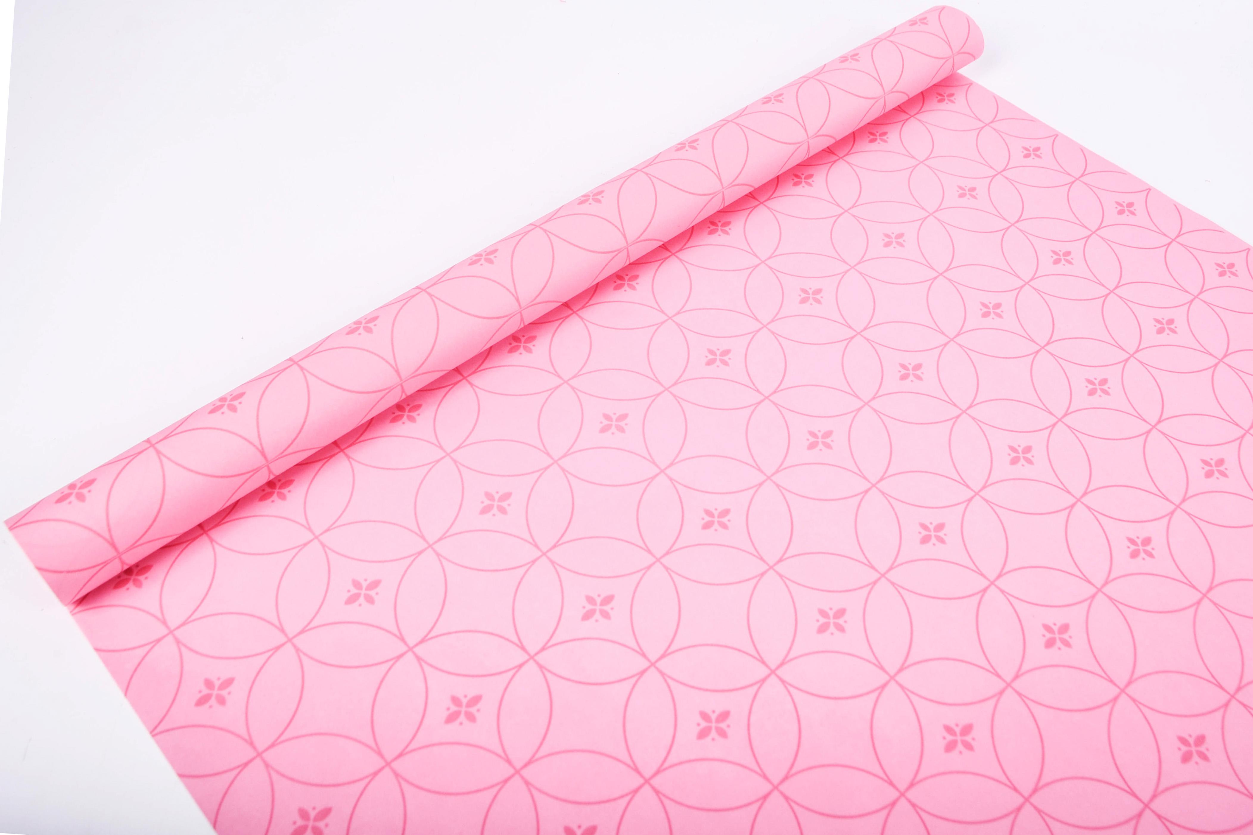 Пергамент флористический Круги на розовом 58г/м2 0.5x10м