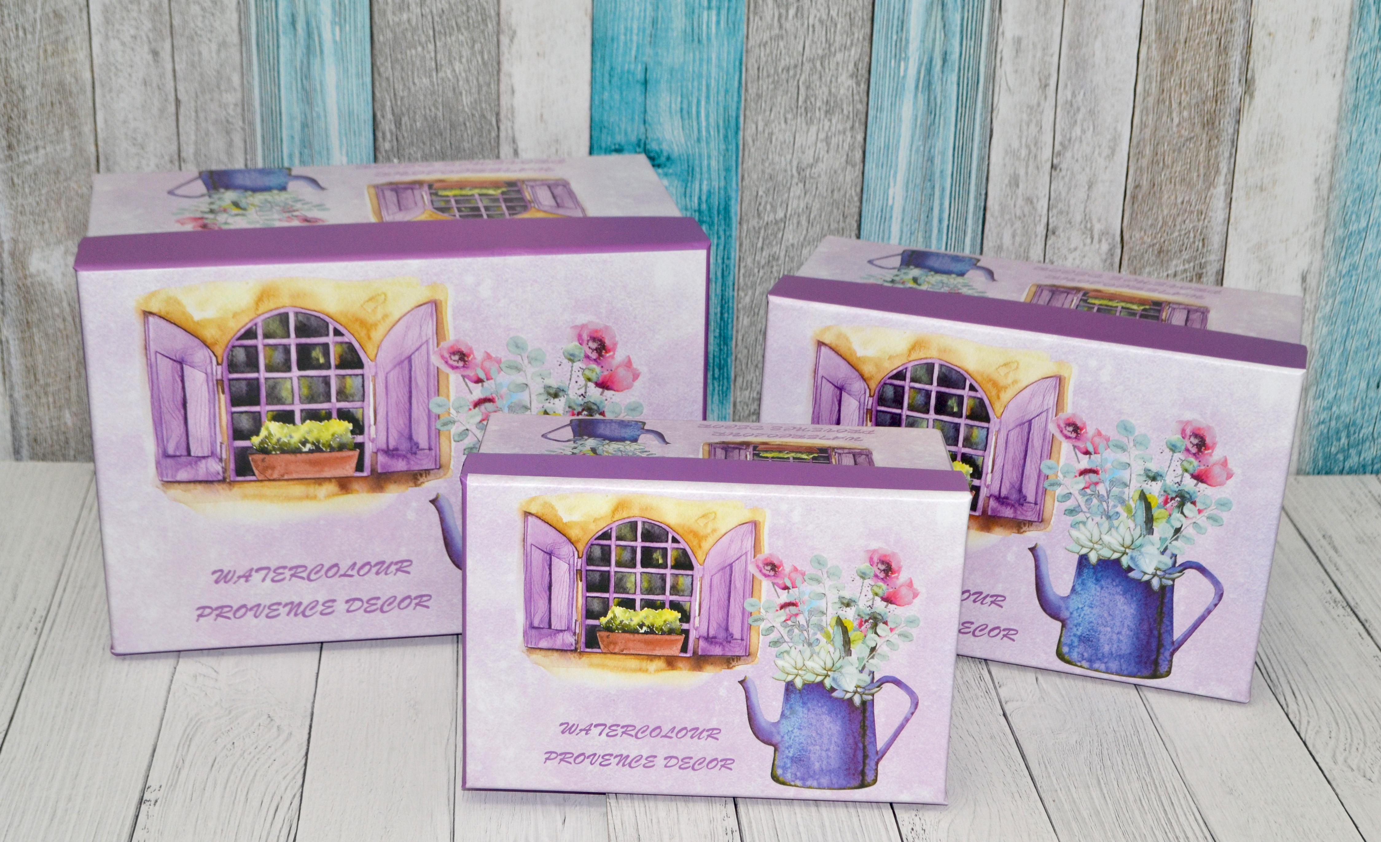 Набор коробок прямоугольник из 3шт 22*15*11.5.19*13*9.5.16*11*7 цветы