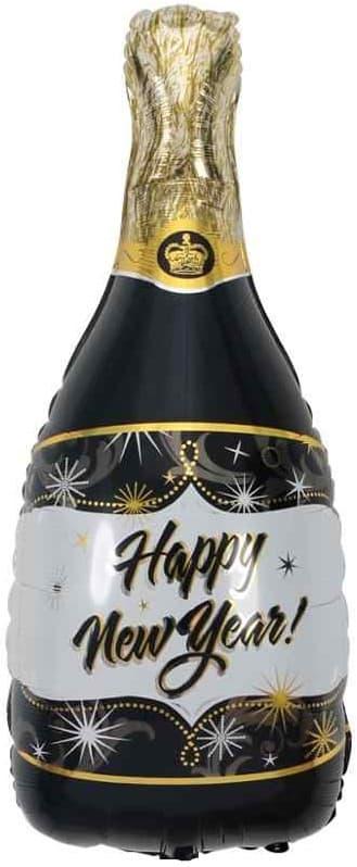 Шар (40''/102 см) Фигура. Бутылка Шампанское. С Новым Годом!. Черный. 1 шт. Falali