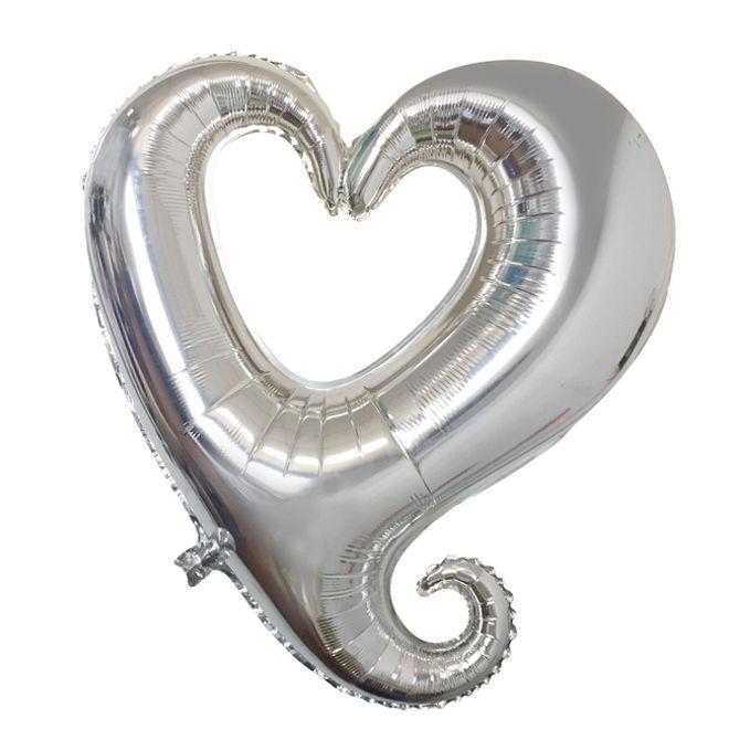 К 18 Сердце витое Серебро / Hollow Heart Silver / 1 шт /