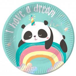 Тарелки 18 см Панда на радуге / набор 6 шт. /