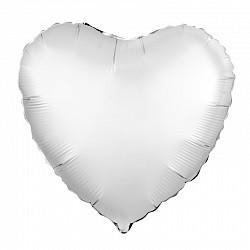 Ag 18 Сердце Сатин Белый жемчужный