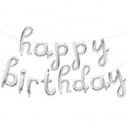 Набор шаров-букв (17''/43 см) Мини-. Надпись Happy Birthday. Серебро. в упаковке 1 шт.